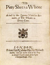 Tis Pity She's a Whore title page, 1633